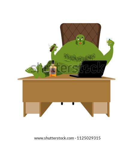 Internet troll. Big green goblin sits at laptop. Org and compute Stock photo © popaukropa