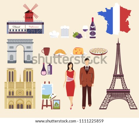 Country France travel vacation guide of goods, place and feature. Set of architecture, fashion, peop Stock photo © Linetale