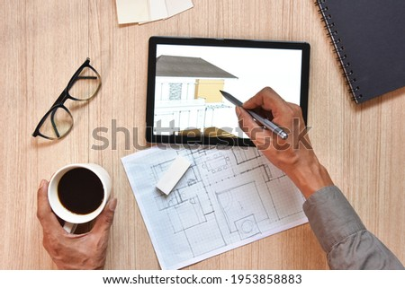 Architect wood table project with professional equipment background concept.. Vector Illustration, e Stock photo © Linetale