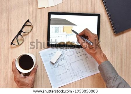architect · tabel · project · professionele · uitrusting · ontwerp - stockfoto © linetale