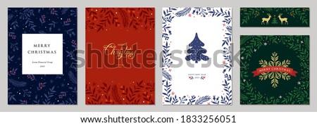 blue christmas tree leaves greeting background Stock photo © SArts