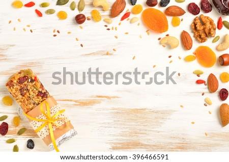 Stock fotó: Házi · készítésű · organikus · granola · gabonapehely · rácsok · diók