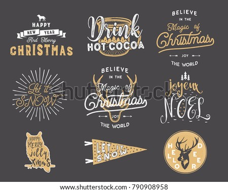 Big Christmas typography quotes, wishes bundle. Sunbursts, ribbons and other xmas elements, icons. N Stock photo © JeksonGraphics