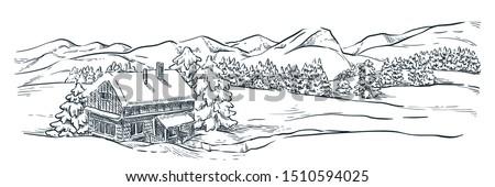 dağlar · karikatür · örnek · yalıtılmış · beyaz · bulutlar - stok fotoğraf © lady-luck