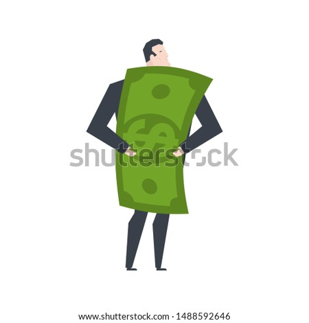 profit businessman and money boss hugs dollar office life vect stock photo © maryvalery