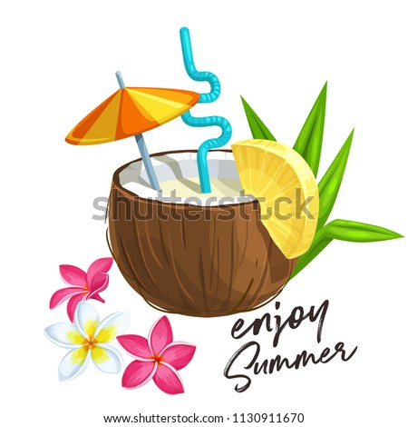 Coconut cocktail on brown background. Summer holiday drink concept, stock photo © Illia