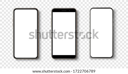 Modern Smartphones Set Vector. Electronic Object. Gadget. Isolated Cartoon Illustration Stock photo © pikepicture