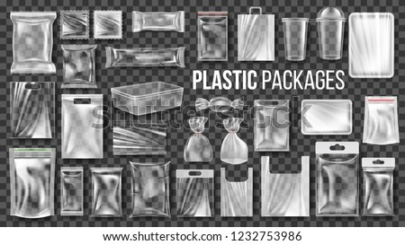 Plastic Packages Transparent Wrap Set Vector. Empty Food Product Polyethylene Package Mock Up Templa Stock photo © pikepicture