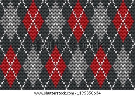 seamless knitted pattern with rhombus decorative ornament geometric background with textile textur stock photo © essl
