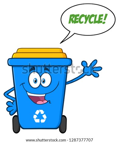 happy blue recycle bin cartoon mascot character waving for greeting with speech bubble and text recy stock photo © hittoon