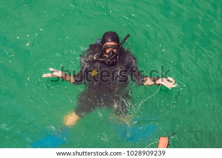 Diver did not find anything under water. Missing underwater concept Stock photo © galitskaya