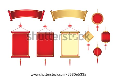happy chinese new year frame with text space and hanging lamps Stock photo © SArts