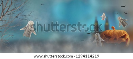 Halloween background castle and pumpkin under mist 3d-illustrati Stock photo © Wetzkaz