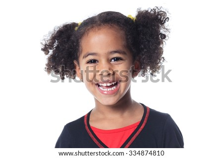 Portrait of a cute 7 years old girl Isolated over white background show positive hand Stock photo © Lopolo