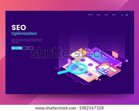 Seo optimalizálás modern színes izometrikus lila Stock fotó © Decorwithme