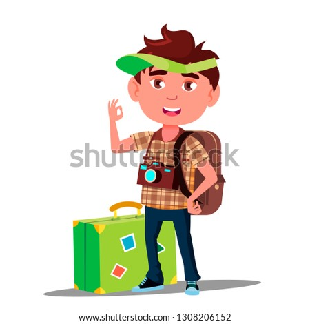 Little Traveler Girl With Suitcase, Cap On His Head And Camera On His Chest Vector. Isolated Illustr Stock photo © pikepicture
