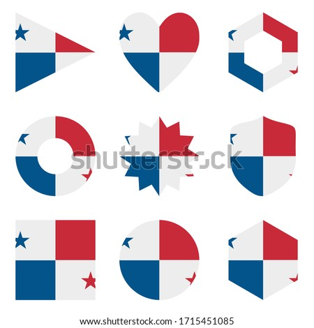 Panama Flag Set Vector. Official Panama Flag Flat Symbol. Different Shapes. Illustration Stock photo © pikepicture