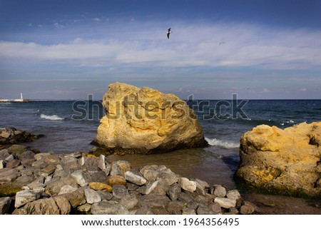 Natural landscape with costline of city Odesa, Ukraine. Seascape with sandy beach and blue water. Ae Stock photo © artjazz