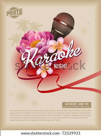 Summer Karaoke Party Flyer Design with flower, microphone, speaker and palm trees on sun yellow back Stock photo © articular