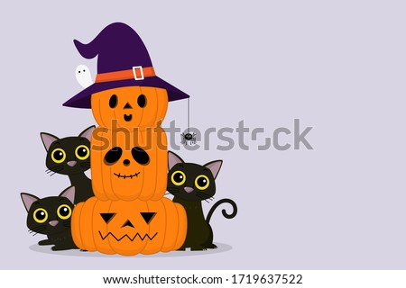 halloween cute vector greeting cards posters banner with ghosts haunted house castle stock photo © marish