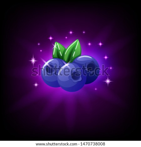 Blueberries with green leaf slot icon for online casino or mobile game, vector illustration with spa Stock photo © MarySan