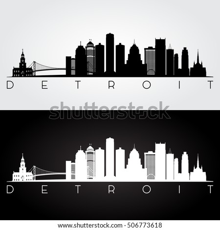 silhouette of detroit skyline   panorama of detroit city downto stock photo © winner