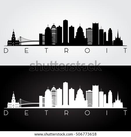 Silhouet Detroit skyline panorama stad centrum Stockfoto © Winner