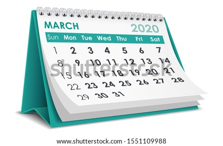 2020 year. Calendar for March. Isolated 3D illustration Stock photo © ISerg