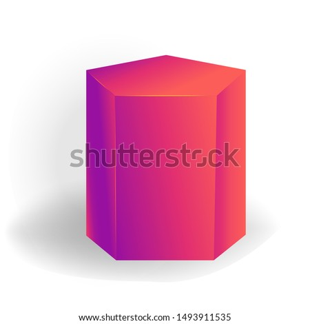 pentagonal prism - One 3D geometric shape with holographic gradient isolated on white background vec Stock photo © MarySan