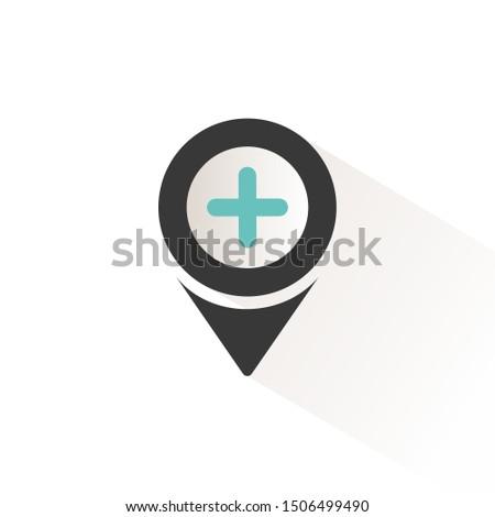 Pharmacy location. Flat icon with beige shade. Urban service vector illustration Stock photo © Imaagio