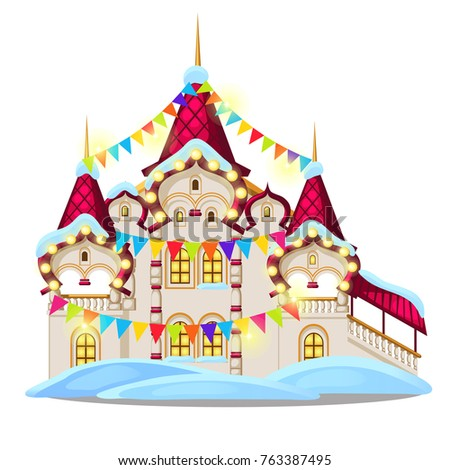 Fairytale castle festively decorated with garlands and multicolored flags isolated on white backgrou Stock photo © Lady-Luck