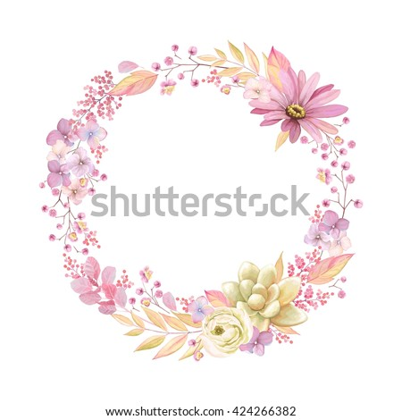 Purple floral wreath Vector watercolor. Provence rustic poster. Wedding card, birthday ceremony even Stock photo © frimufilms