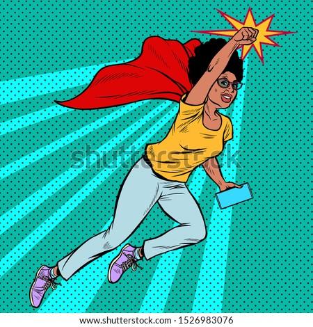 африканских superhero Flying активный сильный женщину Сток-фото © studiostoks