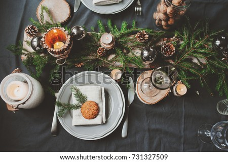 Christmas table setting in Scandinavian style stock photo © furmanphoto