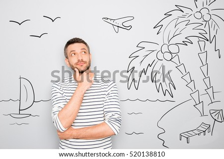 a man dreams, thinking and pondering. isolate on white background Stock photo © studiostoks