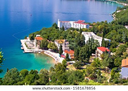 Town of Omisalj beach and coastline on Krk island aerial view Stock photo © xbrchx