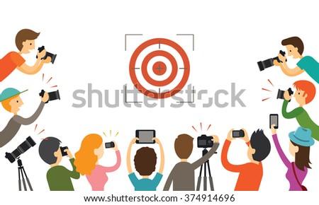 Cartoon man taking photo. Vector photographer with photo camera. Stock photo © vasilixa