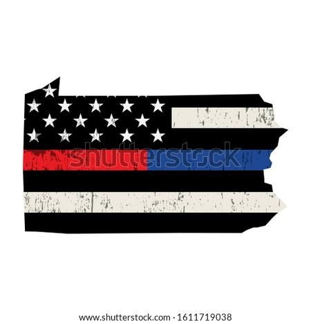 Pennsylvania rendőrség tűzoltó támogatás zászló amerikai zászló Stock fotó © enterlinedesign