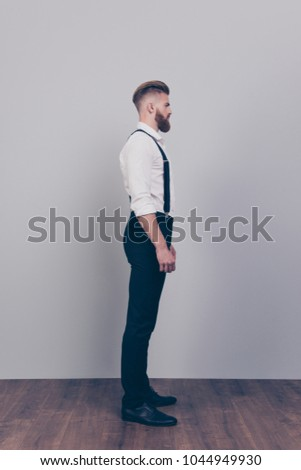 Vertical, full-length profile shot young masculine male athlete in sportswear, do squats, sit and pr Stock photo © benzoix