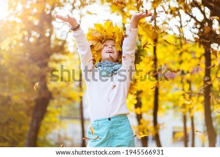 肖像 笑みを浮かべて 子 花輪 葉 ストックフォト © galitskaya