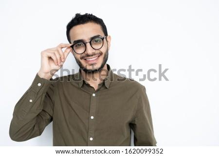 Feliz tipo agradable sonrisa con dientes mirando Foto stock © pressmaster