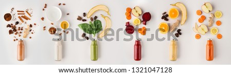 Fresh green smoothie with ingredients. Superfood and detox drink concept. Fresh apples and cerely on Stock photo © vkstudio