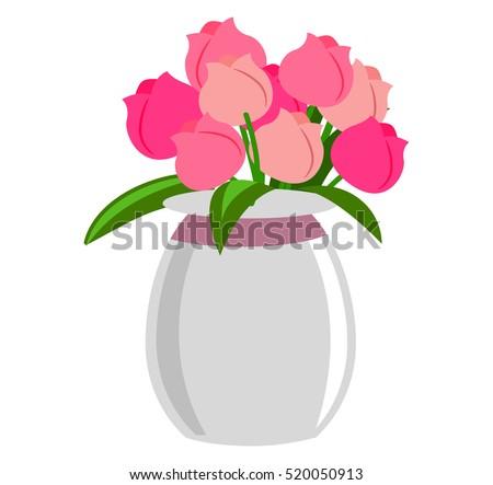 春 花束 透明な ガラス 花瓶 バラ ストックフォト © user_15523892