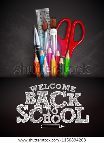Back to School Sale Design with Graphite Pencil, Brush and Typography Letter on Black Chalkboard Bac Stock photo © articular