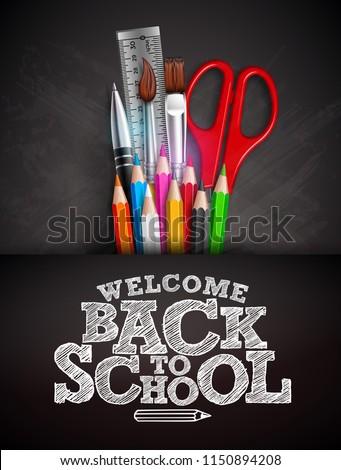 Volver a la escuela venta diseno grafito lápiz cepillo Foto stock © articular
