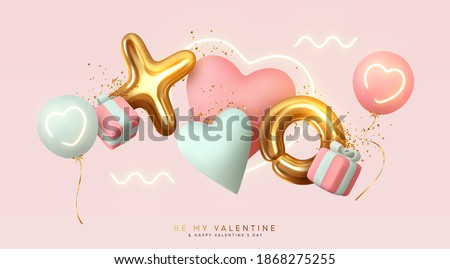 Valentines day sale design with red heart balloon on pink background. Vector special offer illustrat Stock photo © articular