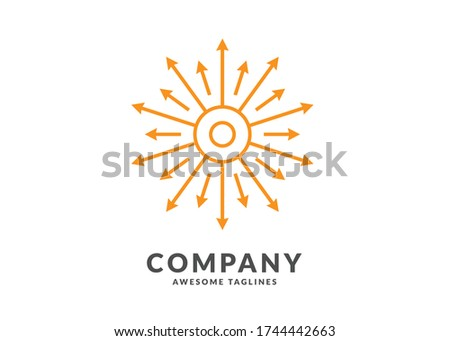 Creative geometric sun circle concept. rays out of arrows. Stock Vector illustration isolated on whi Stock photo © kyryloff