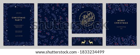 Christmas, New Years blue floral background, holiday card design Stock photo © Anneleven