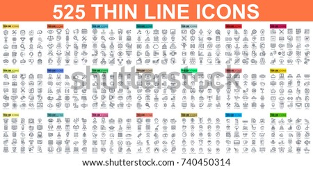 Web design, SEO and development thin line vector icon set, filling with pastel colors, isolated on w Stock photo © ukasz_hampel
