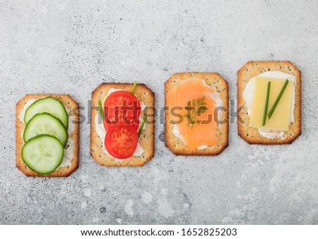 Sağlıklı somon peynir domates salatalık Stok fotoğraf © DenisMArt